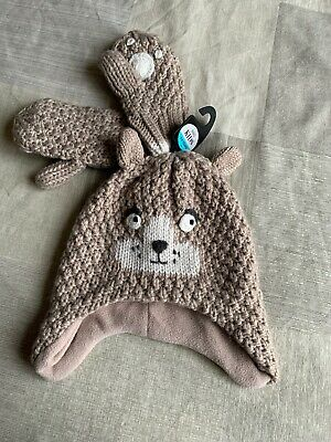 Teddy Bear Hat And Glove Set Age 3-6 Years - BNWT