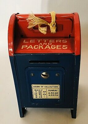 Vintage Tin U.S. Mail Coin Mailbox Bank w/ Key - Made in Japan
