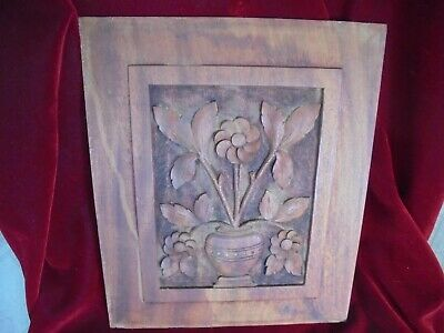 Antique Carved Mahogany Wood Cabinet Door Panel - Flower In Vase-Wonderful