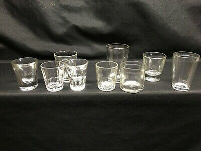 Set 9 Vintage Mid-Century Shot Glasses: Hocking Hazel-Atlas Federal Libbey Plus