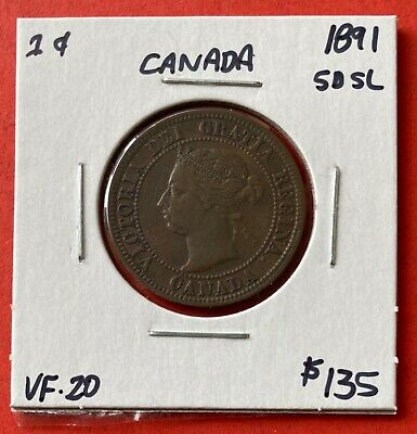 1891 SD SL Canada Large One Cent Coin - VF