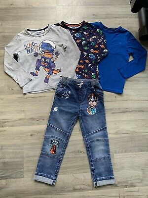 Boys Clothes Bundle Age 4-5 Dinosaur Space Tops And Jeans