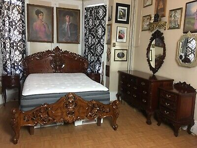 Antique Rosewood (7) Piece Queen Size Bedroom Set, Nights Stand, Armoire & more