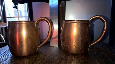 Solid Copper Cups West Bend MCM Moscow Mule Mugs Rustic Decor Lot of 2 vintage