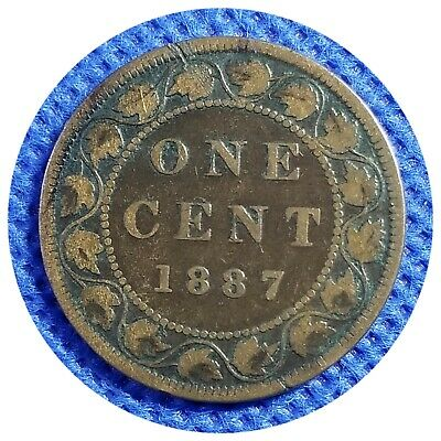 💰1887 Canada Large One Cent Coin (95% Copper) - VICTORIA DEL GRATIA REGINA #65