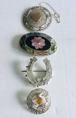 Four Vintage Silver Brooches, Victorian, Inlaid Shell, Scottish, Filigree Etc.