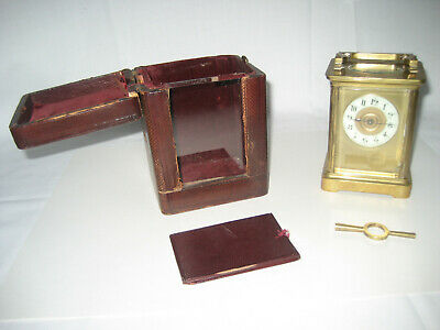 Nice Antique Brass Carriage Clock In Red Leather Travel Case. + Key. Early 1900s