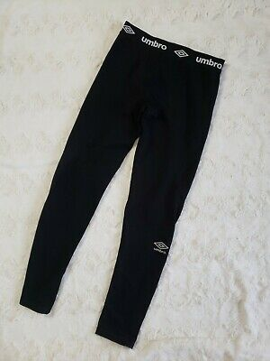 Umbro Compression Leggings Black Boys Youth LARGE 12/14 Fitted full length