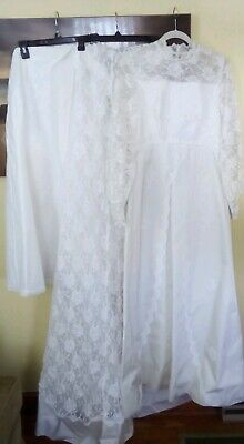 Vtg 60's Ivory LACE WEDDING DRESS GOWN Union Made AFLCIO Sheer Long Sleeves M/L