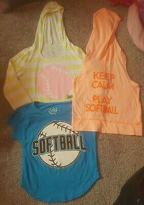 lot / 3 girls Justice Softball crop tops Size 8 and 10 Spring shirts sports cute