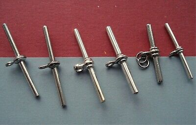 ANTIQUE T BARS for ALBERT FOB WATCH CHAINS JOB LOT OF SIX SILVER PLATED