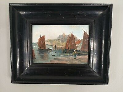 Antique Oil Painting 19th Century Boats Kirkcaldy Fife 1860c Victorian Frame