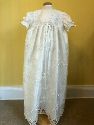 Silk and lace Christening Gown. Hand made original one off bespoke gown