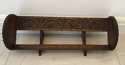 Vintage Gothic/Arts & Crafts carved Wooden Book Shelf /Stand - 55 x 20 x 4 cm