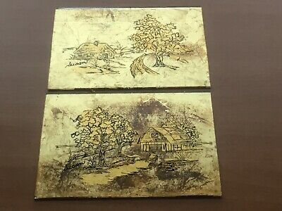 Reverse Painting on Glass Gold Leaf Set Of 2 Landscapes 5 By 7 No Frames F221