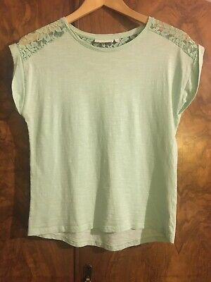 PERFECT CONDITION Bhs Tammy Girl T-Shirt Mint Green 100% Cotton Age 15-16 / UK 8