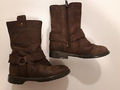 Marks And Spencer Brown Suede Leather Girls Boots Size UK 6 EU 23