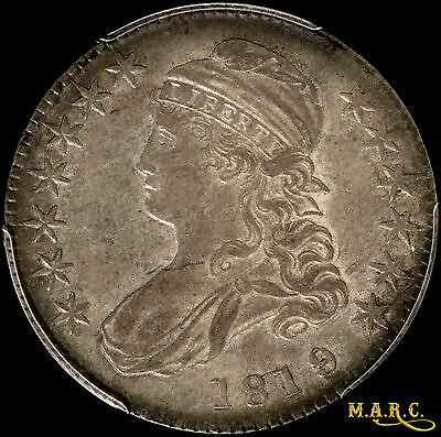 1819/8 AU53 PCGS 50C Capped Bust Half Dollar, Rich Toning!! Free Shipping, MARC