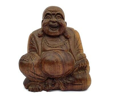 Antique Chinese Hand Carved Wood Buddha Figurine Statue