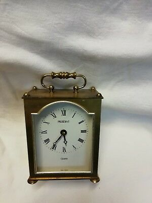 (417)  Brass Carriage Clock With Quartz Battery Movement Clock Made By President