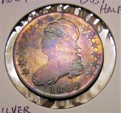 1809 Us Mint Bust Toned Half Dollar