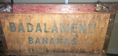 Antique Badalament Banana Co Wood Crate Steel Bound Box Food Advertising Rare