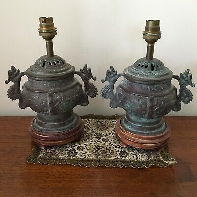 Pair Antique Heavy Chinese Brass Lidded Dragon Lamps