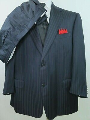Canali Pure Wool Black Textured Striped Two Piece Italian Men's Suit 43x27 48 R