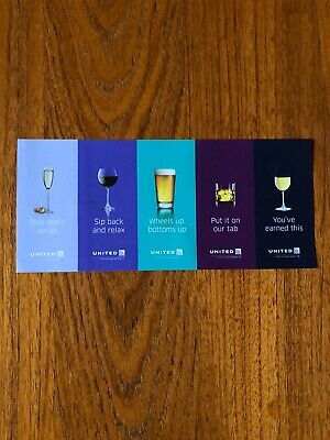 United Airlines Drink Coupons Five (5) Vouchers Expiring 1/31/2022