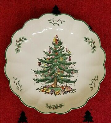 """Spode Round Large Fluted Dish Bowl * England * NEW 10"""" Christmas Tree"""
