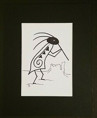 The Kokopelli, Hump Back Flute Player, By Navajo America Indian Artist Bb Wright