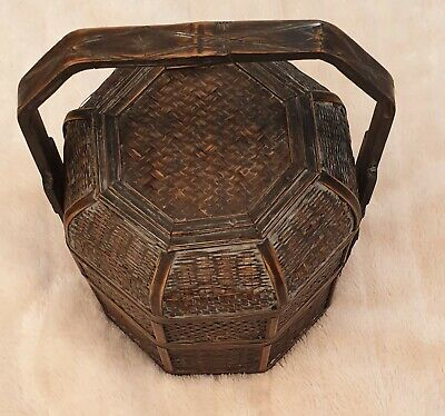 Antique Chinese Carved Wicker & Bamboo Lunch Box With Several Layers