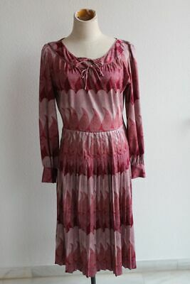 1970s paisley floral print with pleated skirt psychedelic midi dress size L