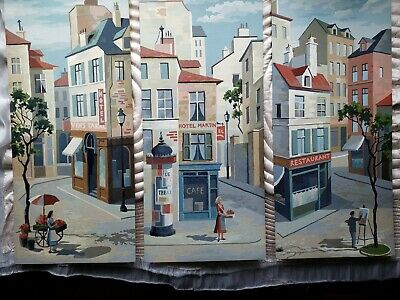Vintage Paint By Number French Town Triptych