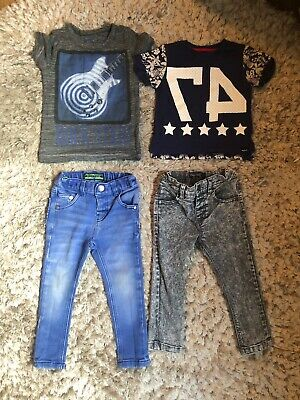 Boys Small Bundle Of Next Jeans And Tshirts. Size 12-18 Months