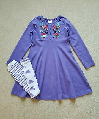 HANNA ANDERSSON Girls Embroidered Dress & Footless Capri Tights ~ Sz 130 8