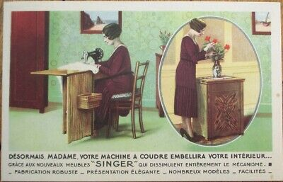 Singer Sewing Machine 1920s Art Deco French Advertising Postcard - Woman Working