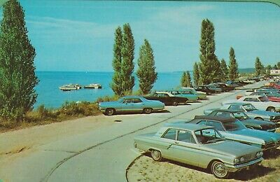 Vintage Lake Michigan MI Postcard Saugatuck popular bathing beach Oval Cool Cars