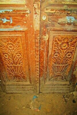 Antique Wooden Double Doors with cast iron insert Egyptian hand made 1949's