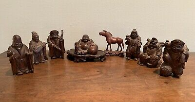 "Vintage Wood Carved Asian Figures Musical Horse Buddha 3"" Figurines"