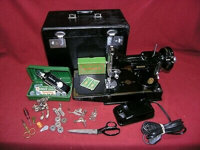 1948 Singer 221 Featherweight Sewing Machine w/Pedal/Case/Buttonholer/Attachment