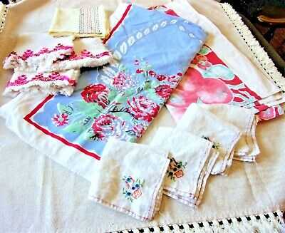 Vintage STAMPED TABLECLOTHS Linen Napkins Tea Towel Cherries Flowers Cutter Use