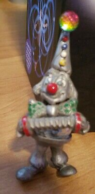 """Colorful Detailed 3"""" Pewter Glass Clown Figurine Cute Great Shape Look"""