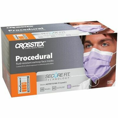 Crosstex Procedural Earloop Secure Fit Face Mask USA Box/50 ASTM Level 2 GCPBLSF