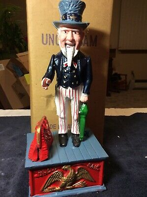 Vintage Replica UNCLE SAM Die Cast Iron Mechanical Penny Coin Bank