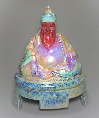 "Rare ROYAL DOULTON Sung Flambe Seated BUDDHA or IMMORTAL Statue c.1920 13.5""Tall"
