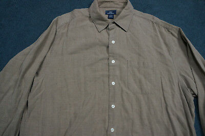 Brooks Brothers Mens Regular XL Dress Shirt 346 Brown Cotton Buttondown C8091