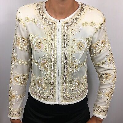 Stenay Women's Vintage White Gold Beaded Silk Jacket Hook And Eye Closure Size S