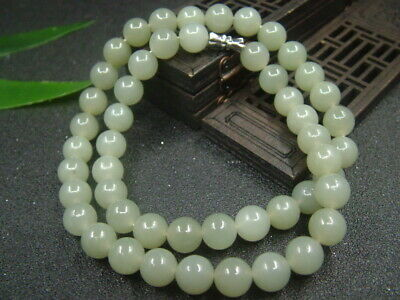 Chinese Antique Celadon Nephrite Hetian-Jade 9mm bead Necklace Pendant 700