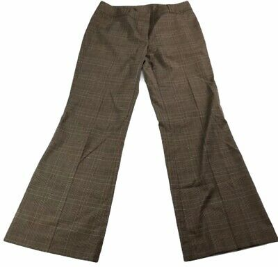 New York & Co Stretch Women's Dress Pants Size 8 Petite Brown Plaid Wide Leg
